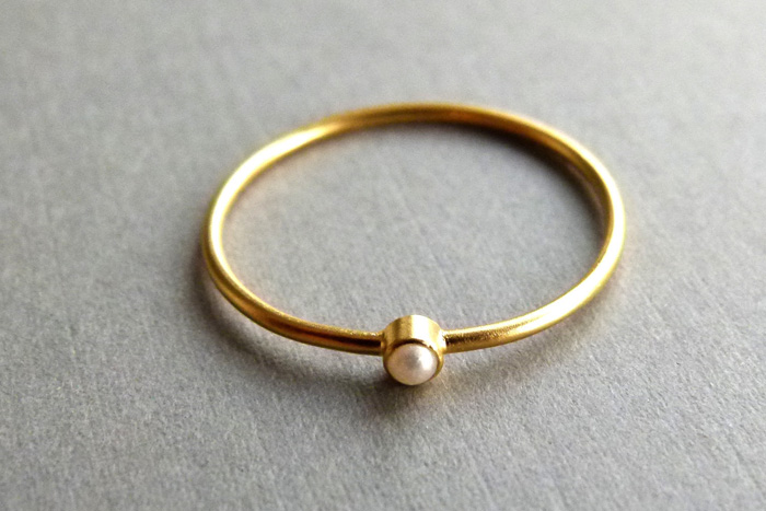 small pearl engagement ring