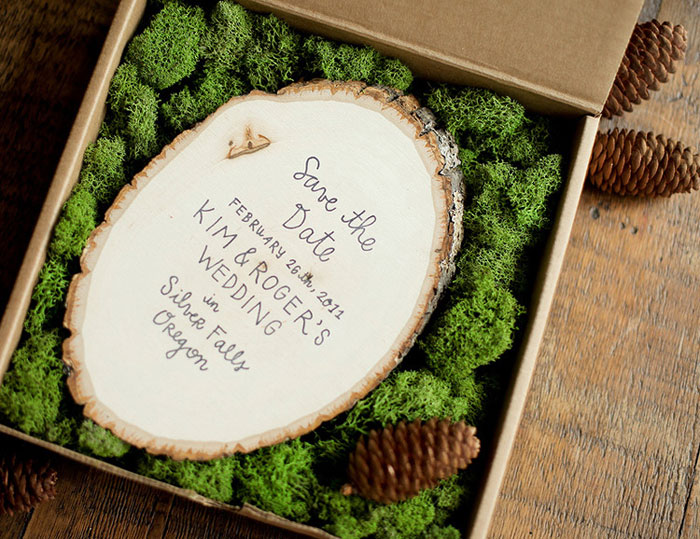 stamped wood slice save the date