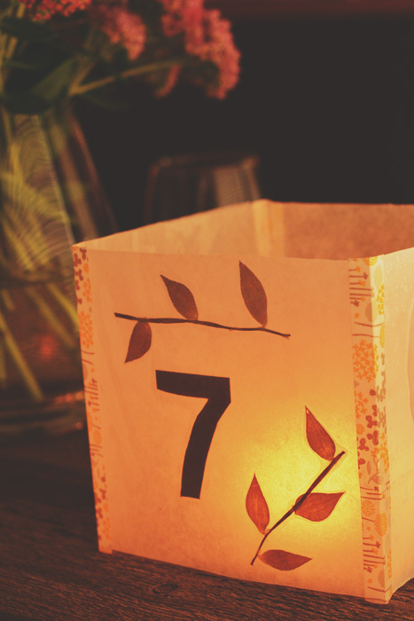 DIY Illuminated Table Numbers - waxed paper and leaves