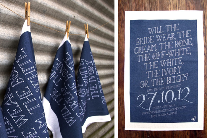 tea towel save the date