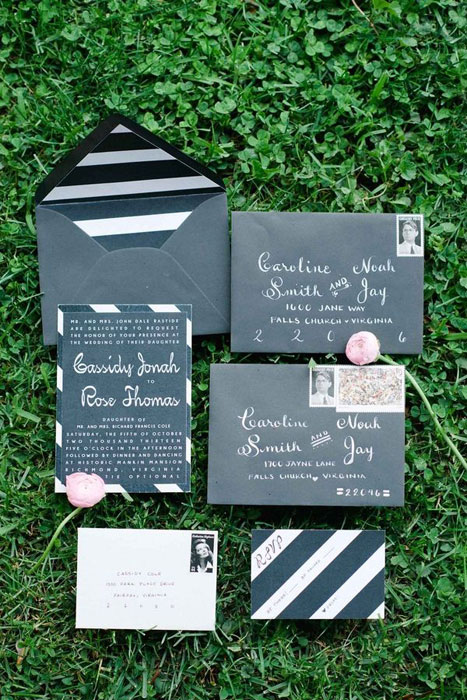 black striped wedding invitation