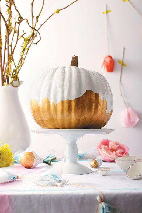 gold dipped pumpkin