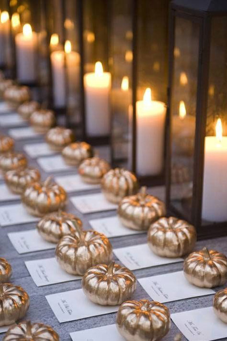 gold pumpkin escort cards