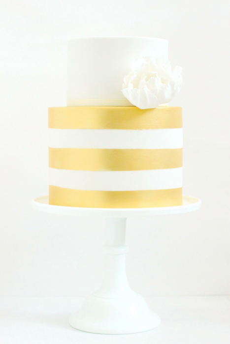 gold striped cake