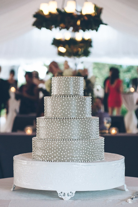 grey swiss dot wedding cake