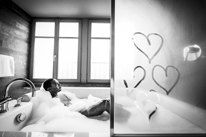 groom in bathtub