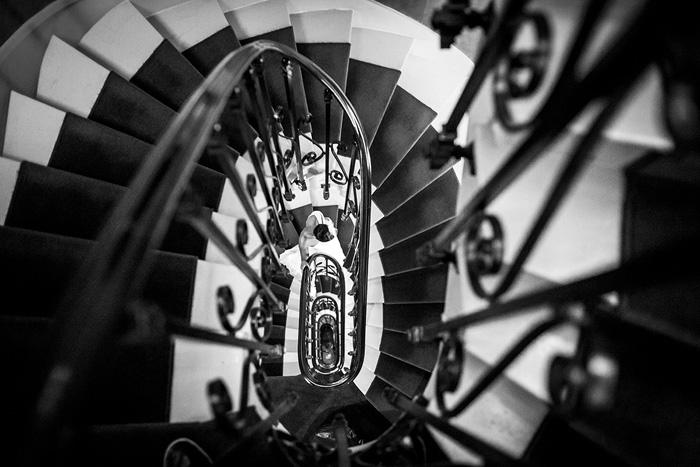 bride on Parisian staircase
