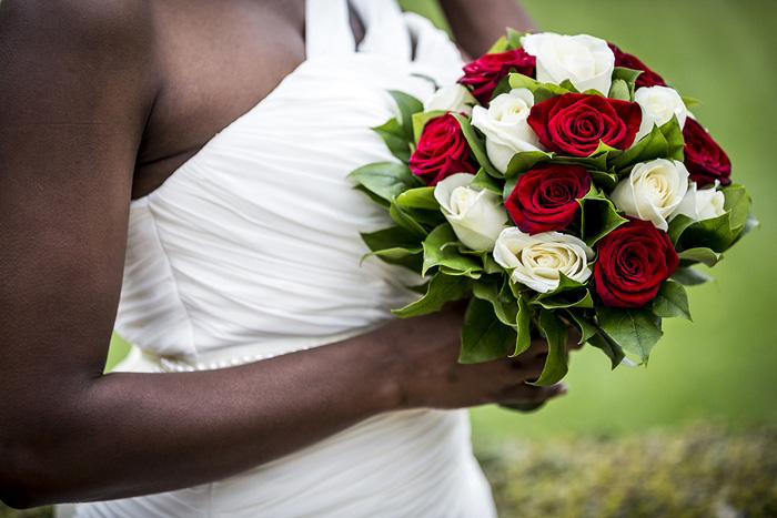 red and white rose wedding bouquet