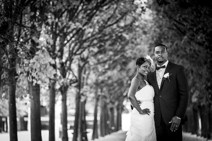 Black and white portrait of bride and groom in Paris