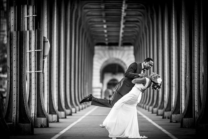 groom dipping bride in Paris