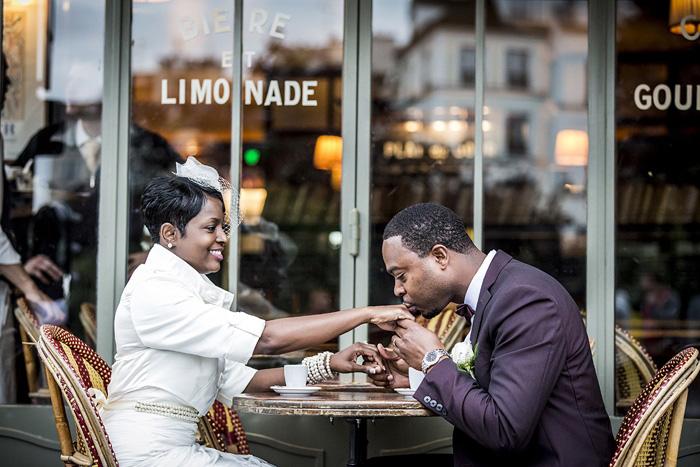 bride at Parisian cafe