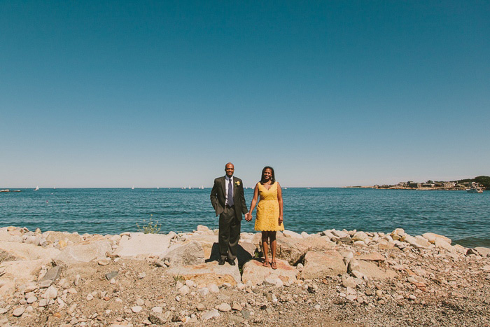bride and groom portrait by the sea