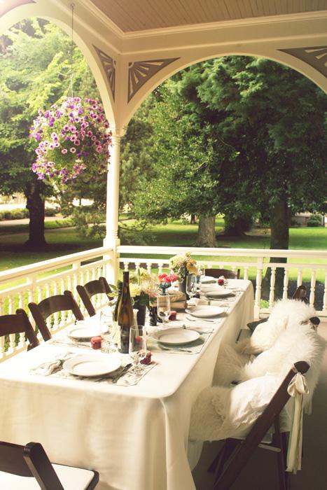 Marshall house wedding reception on porch
