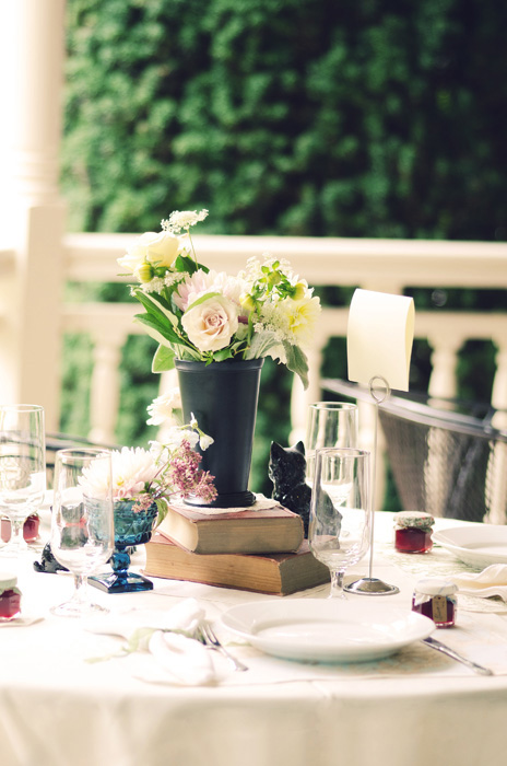 reception table on the porch
