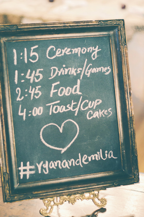 Chalkboard wedding schedule