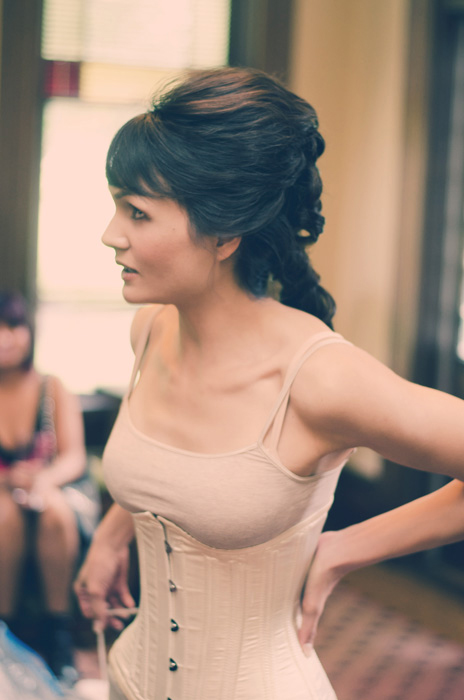 bride in corset
