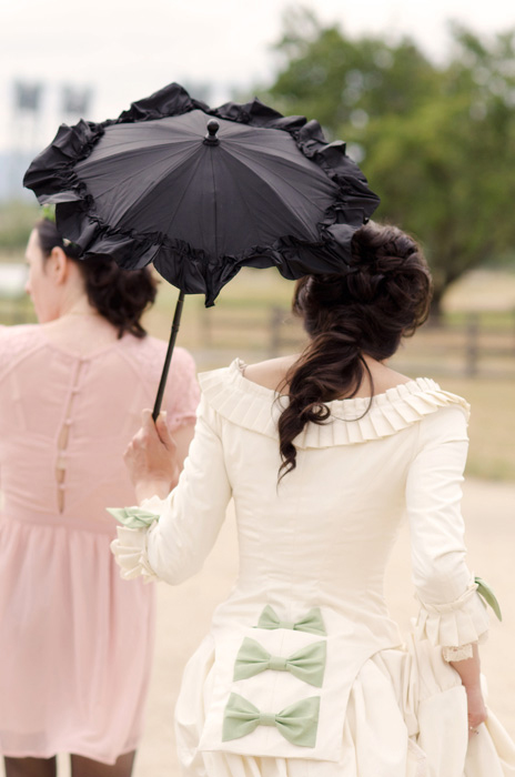 bride with black victorian umbrella