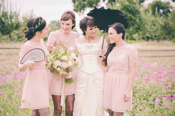 bride with her maids in pink