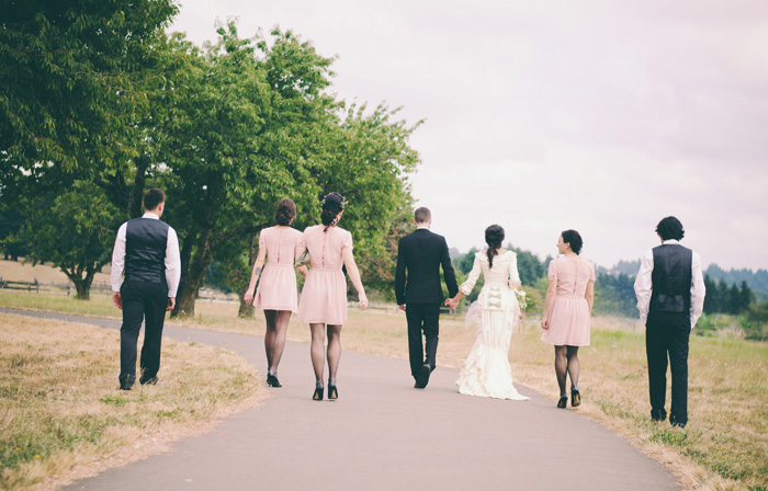 bridal party walking in Fort Vancouver