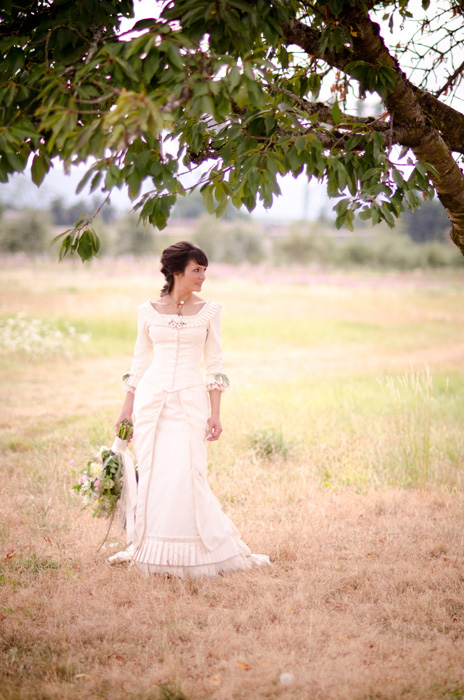 bride in Victoria wedding dress