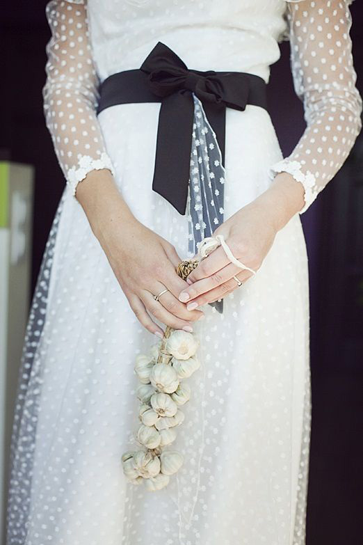 long sleeved swiss dot wedding dress