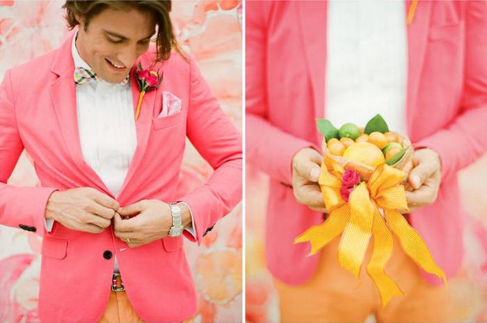 pink jacket and orange pants