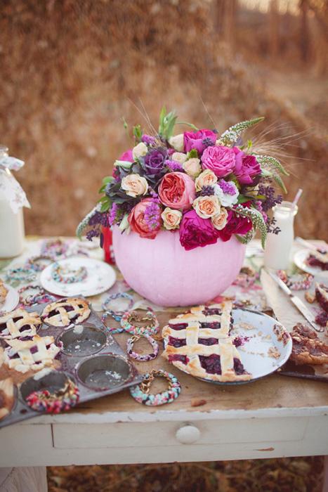 pink pumpkin flower centerpiece