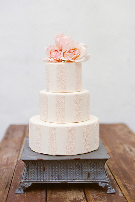pink striped wedding cake