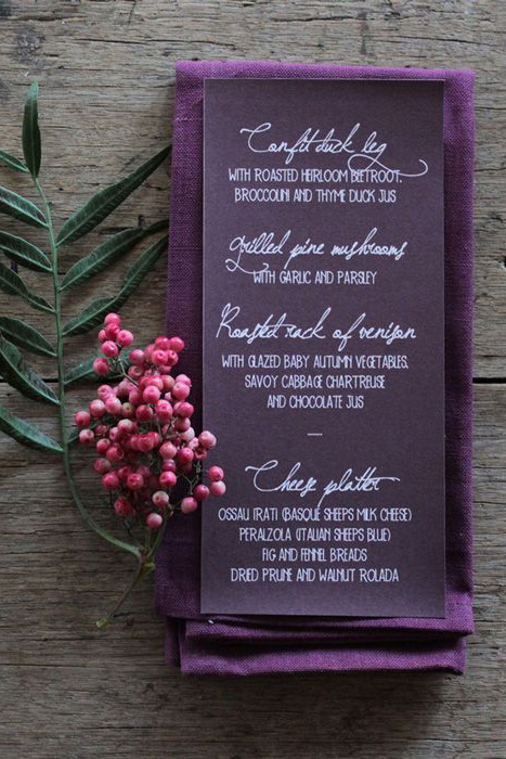 purple wedding menu