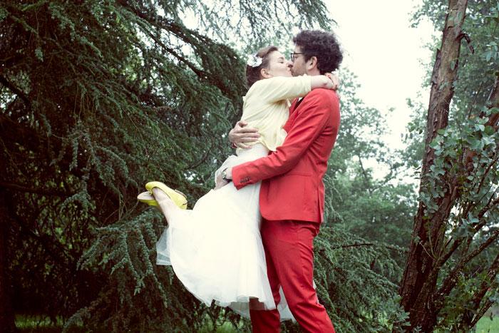 red groom's suit