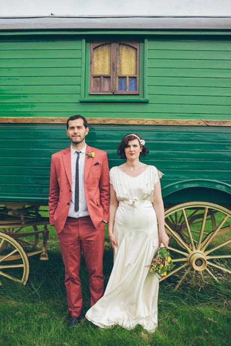 red groom suit