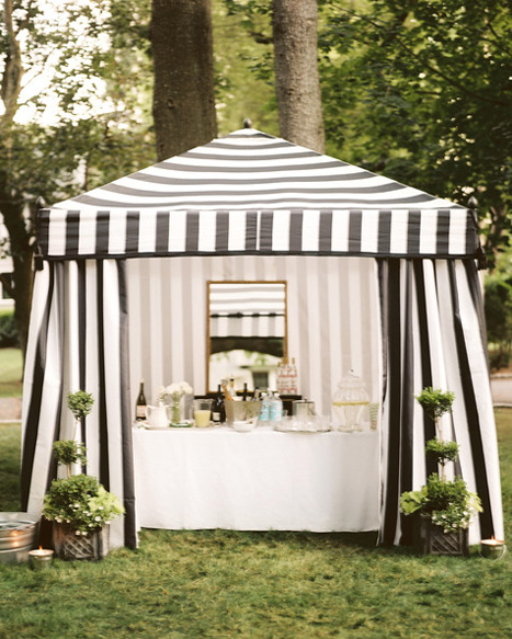 striped wedding tent