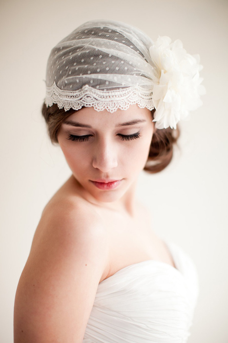 swiss dot bridal cap