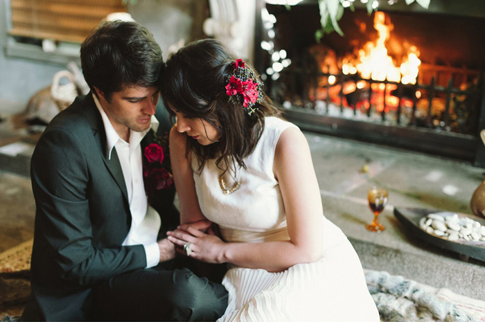 wedding by the fireplace