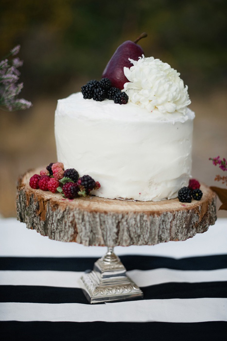 wedding cake with jewel tone fruits
