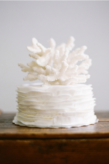 white coral wedding cake