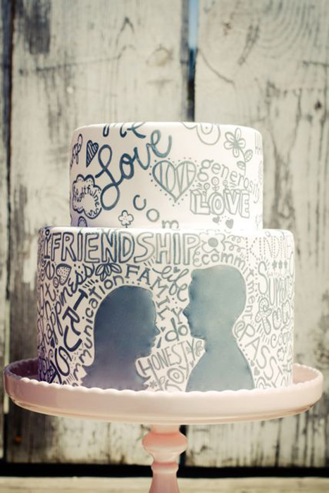 black and white graffiti wedding cake