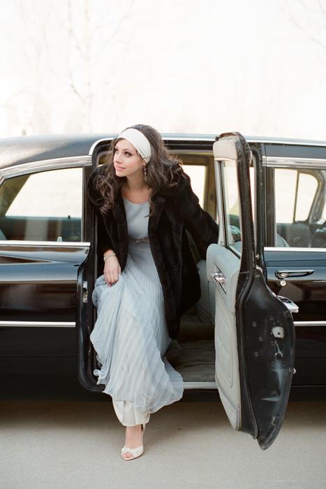 bride in fur coat