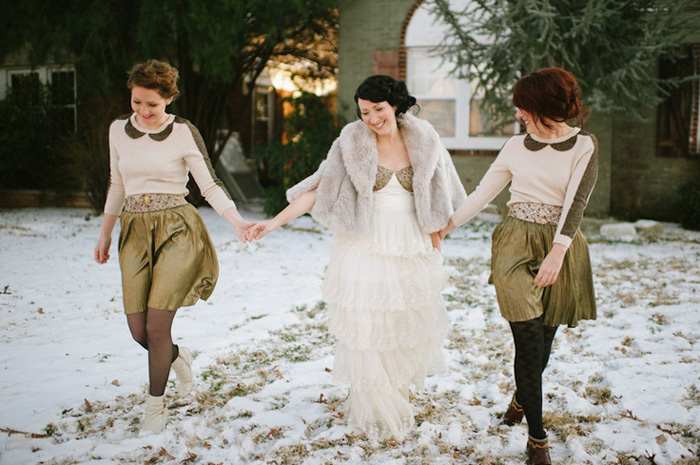 bride in short fur coat