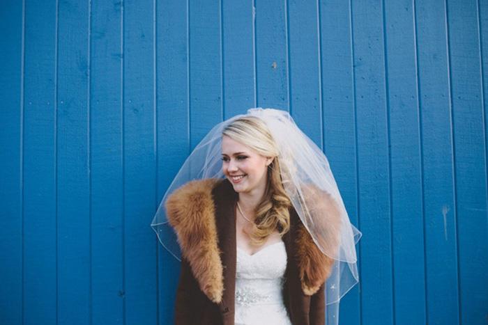 bride in winter coat