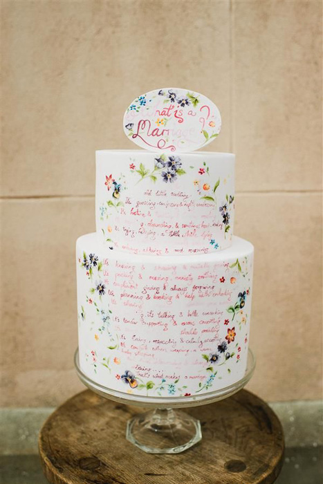 hand lettered wedding cake