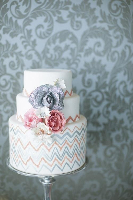 hand painted chevron cake