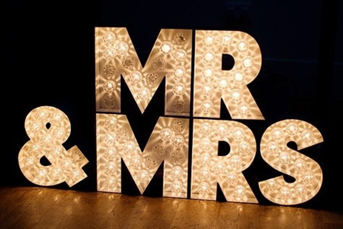 mr and mrs sign marquee sign wedding rent