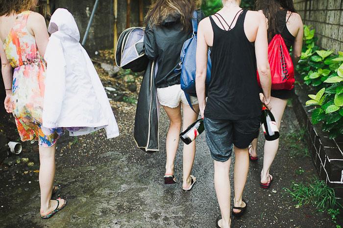 bridesmaids walking in Bali