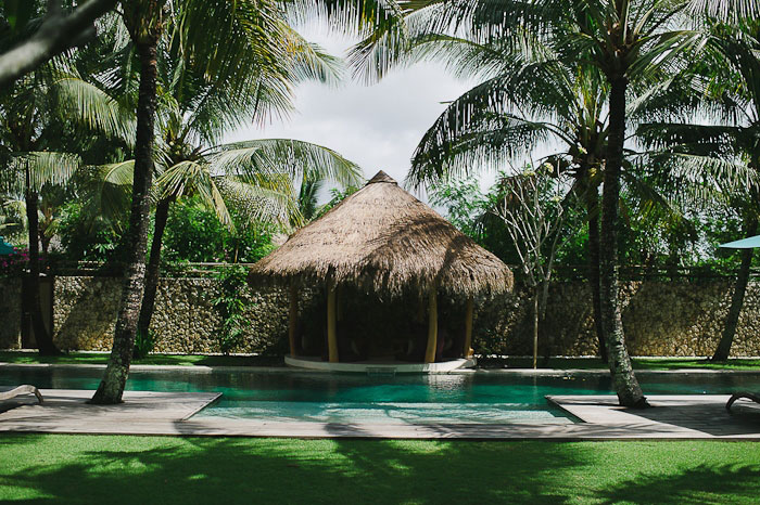 Balinese thatched roof pool hut