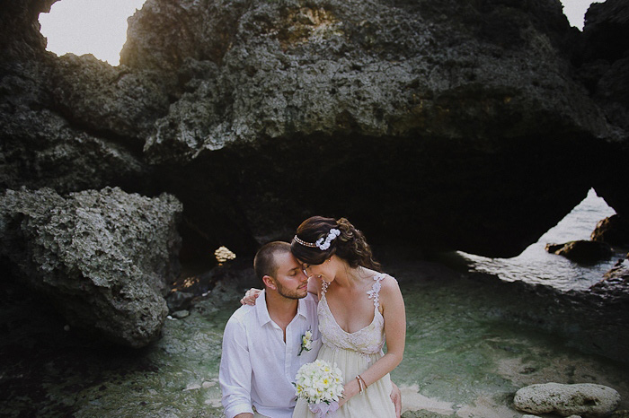 bride and groom portrait in the water