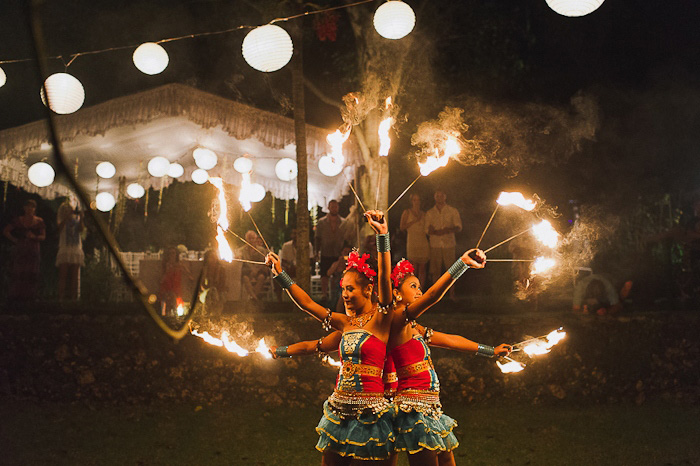 Balinese fire dancers at wedding