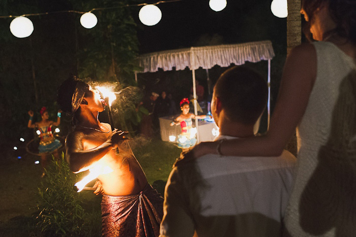 fire eater at balinese wedding