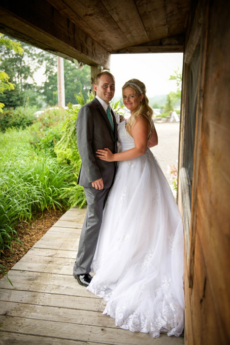 bride and groom on the porch