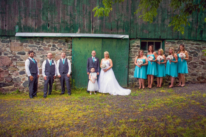 barn wedding party portrait